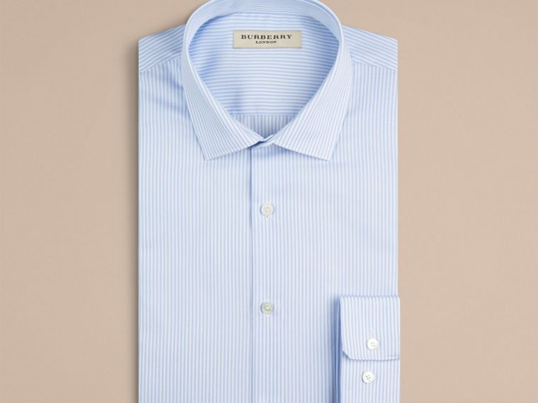 City blue Slim Fit Striped Cotton Shirt - cell image 1