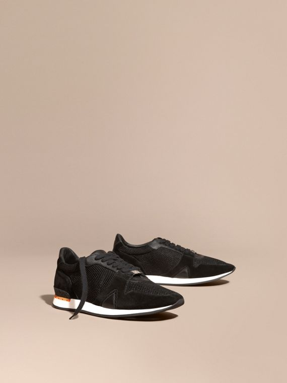 The Field Sneaker in Suede and Mesh Black