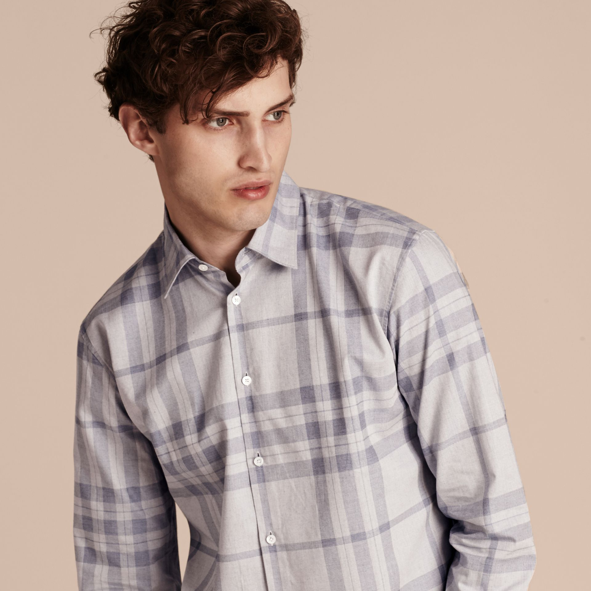 Dusty blue Check Cotton Flannel Shirt Dusty Blue - gallery image 5