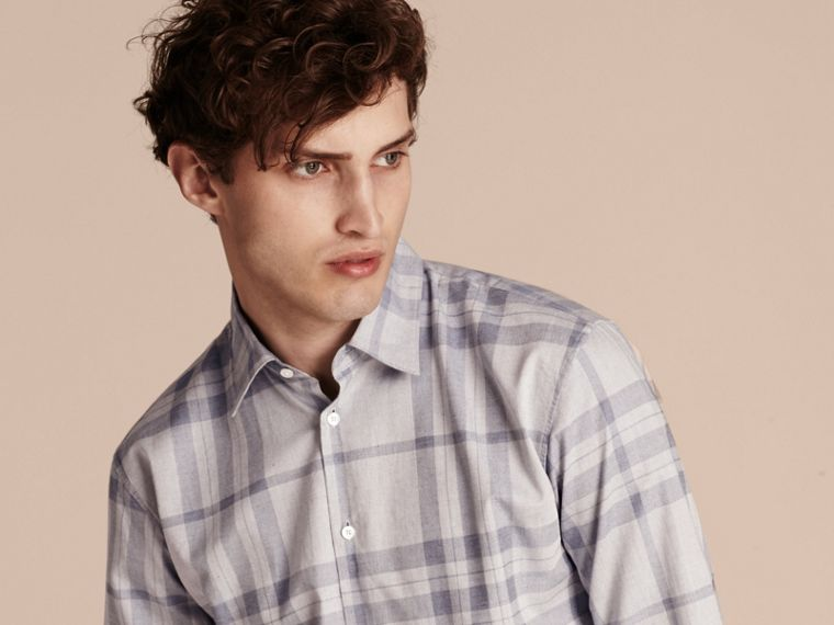 Dusty blue Check Cotton Flannel Shirt Dusty Blue - cell image 4