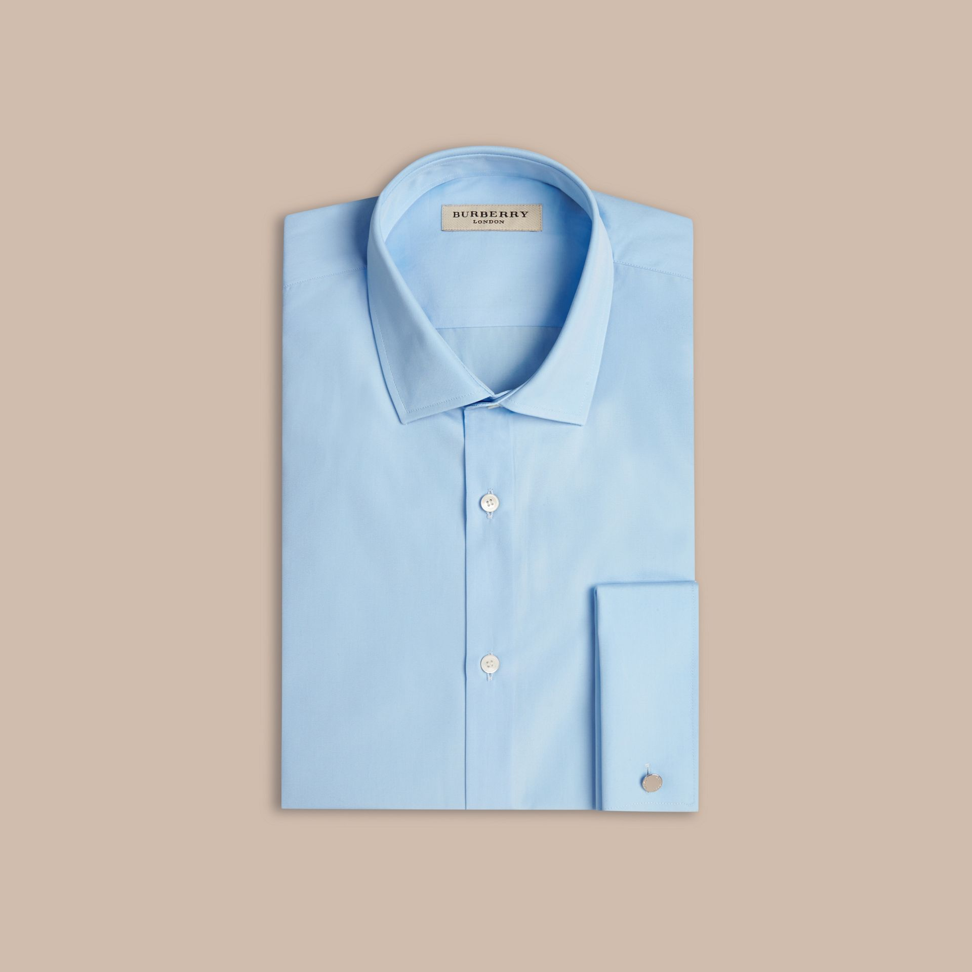 Azul urbano Camisa de popeline de algodão com corte moderno e punhos duplos Azul Urbano - galeria de imagens 4