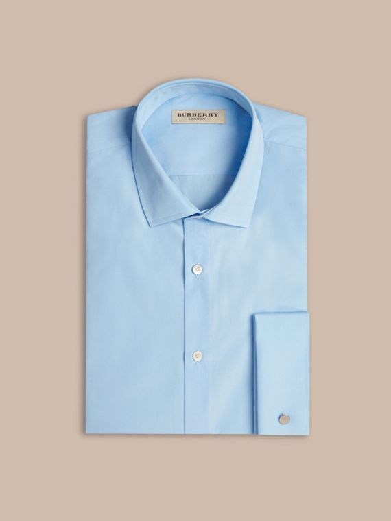 City blue Modern Fit Double-cuff Cotton Poplin Shirt City Blue - cell image 3
