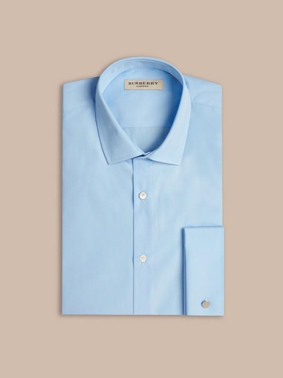 Azul urbano Camisa de popeline de algodão com corte moderno e punhos duplos Azul Urbano - cell image 3