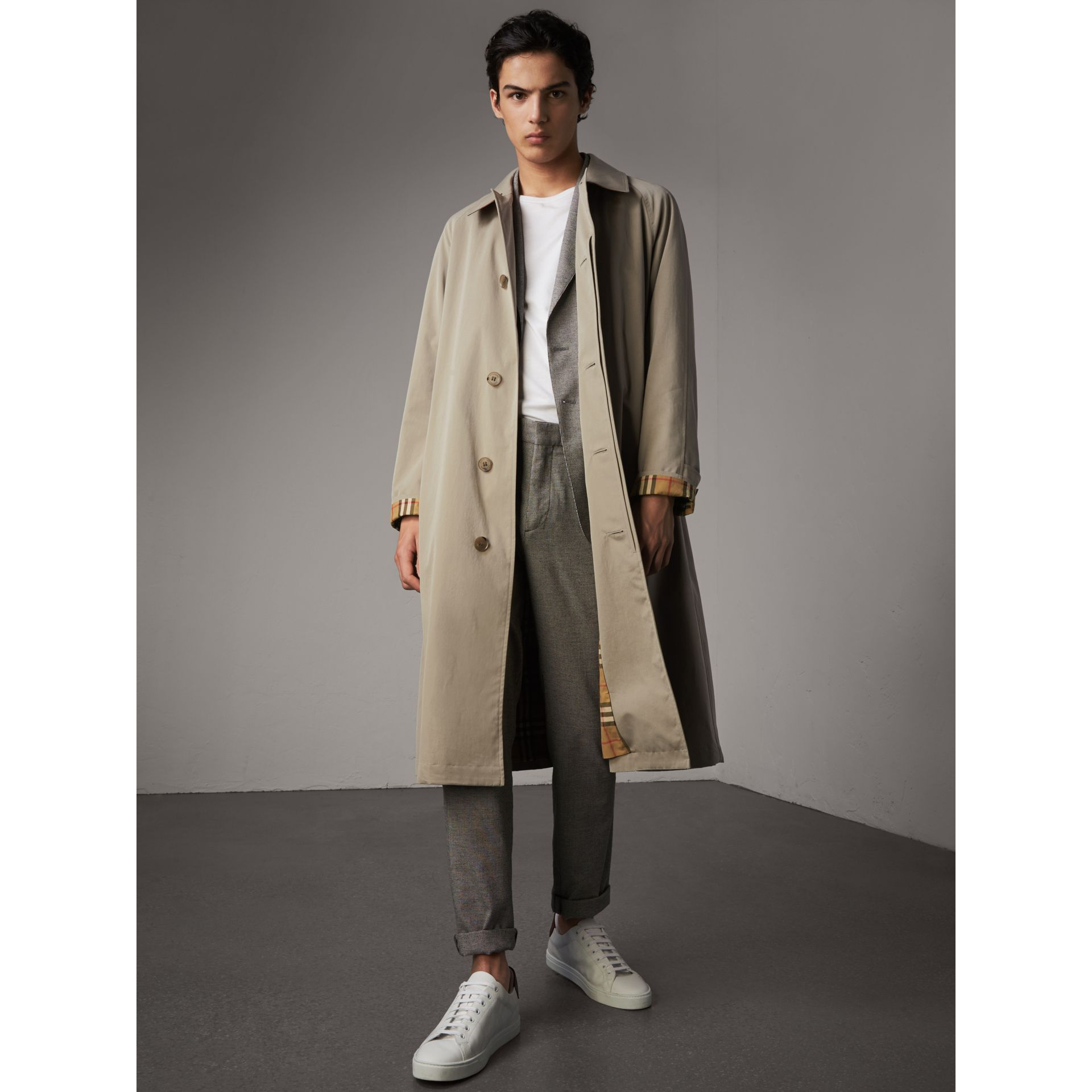 The Brighton – Longline Car Coat in Sandstone - Men | Burberry - gallery image 1