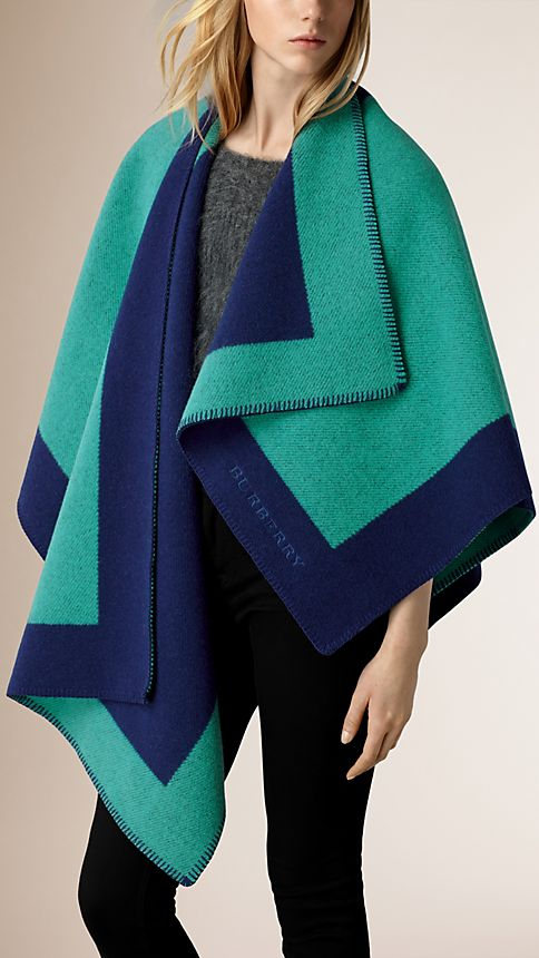 Aqua green Border Detail Wool Cashmere Poncho - Image 1