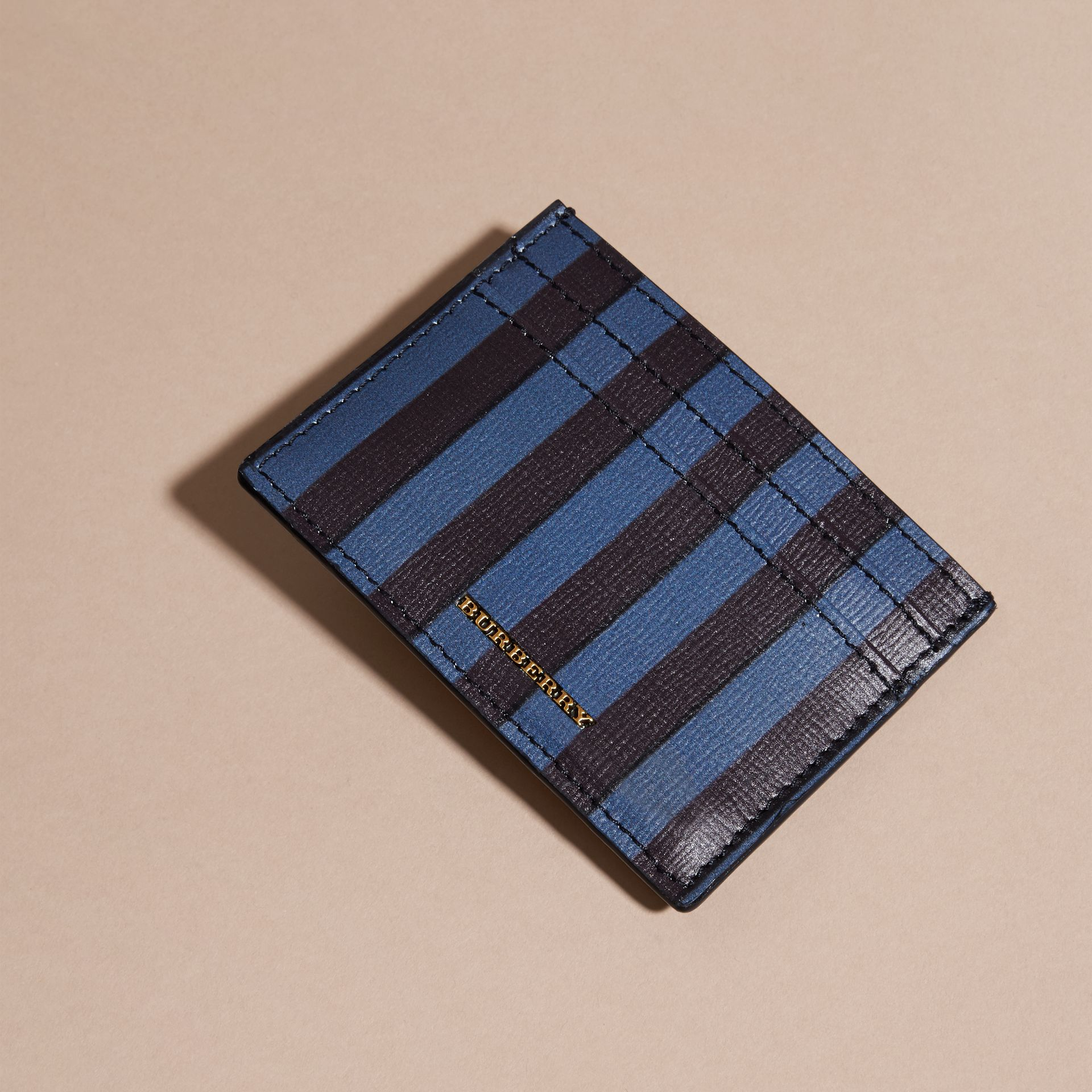 Navy Pyjama Stripe London Leather Card Case Navy - gallery image 3