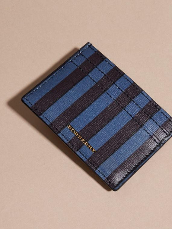 Navy Pyjama Stripe London Leather Card Case Navy - cell image 2