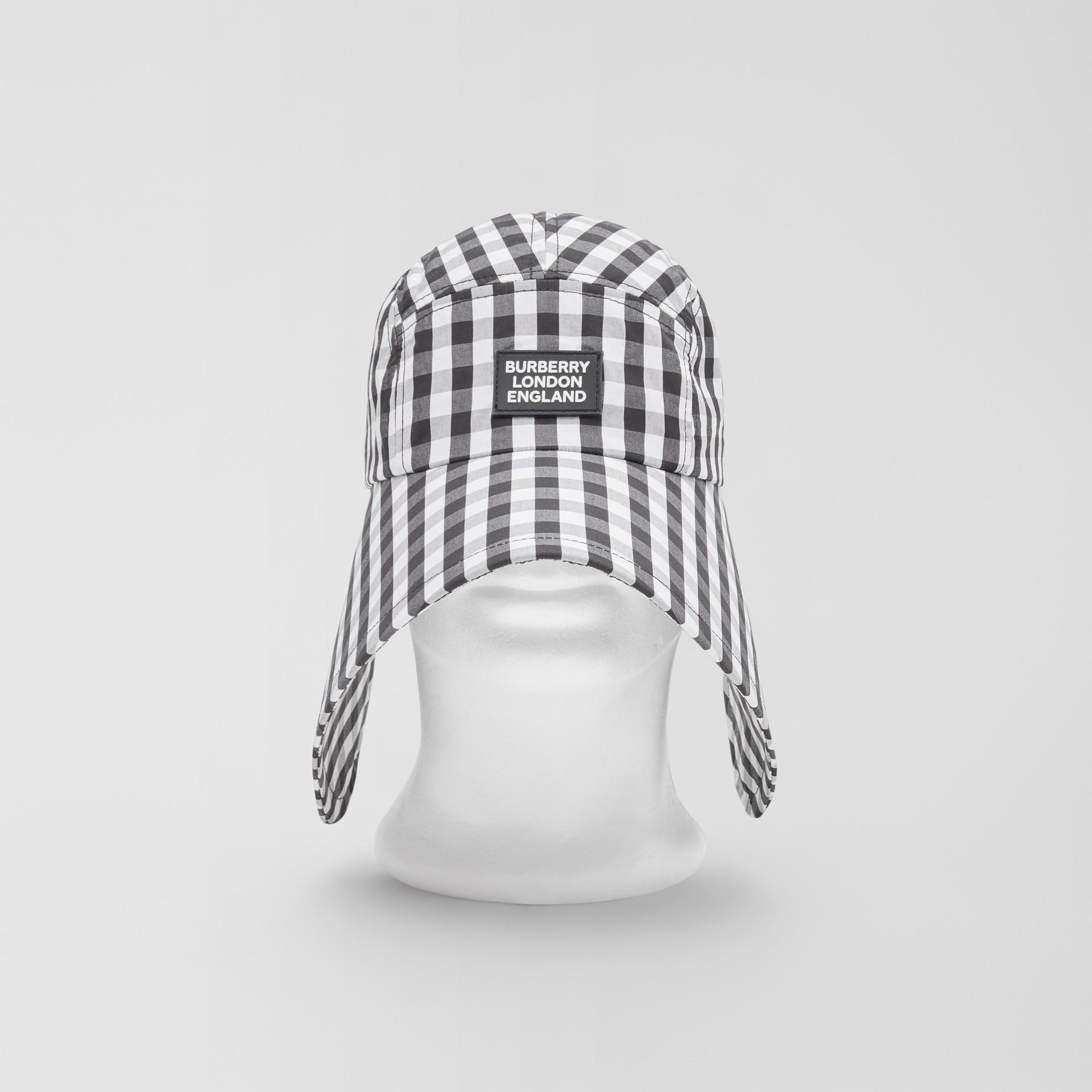 Logo Appliqué Gingham Cotton Bonnet Cap in Black/white | Burberry - gallery image 0