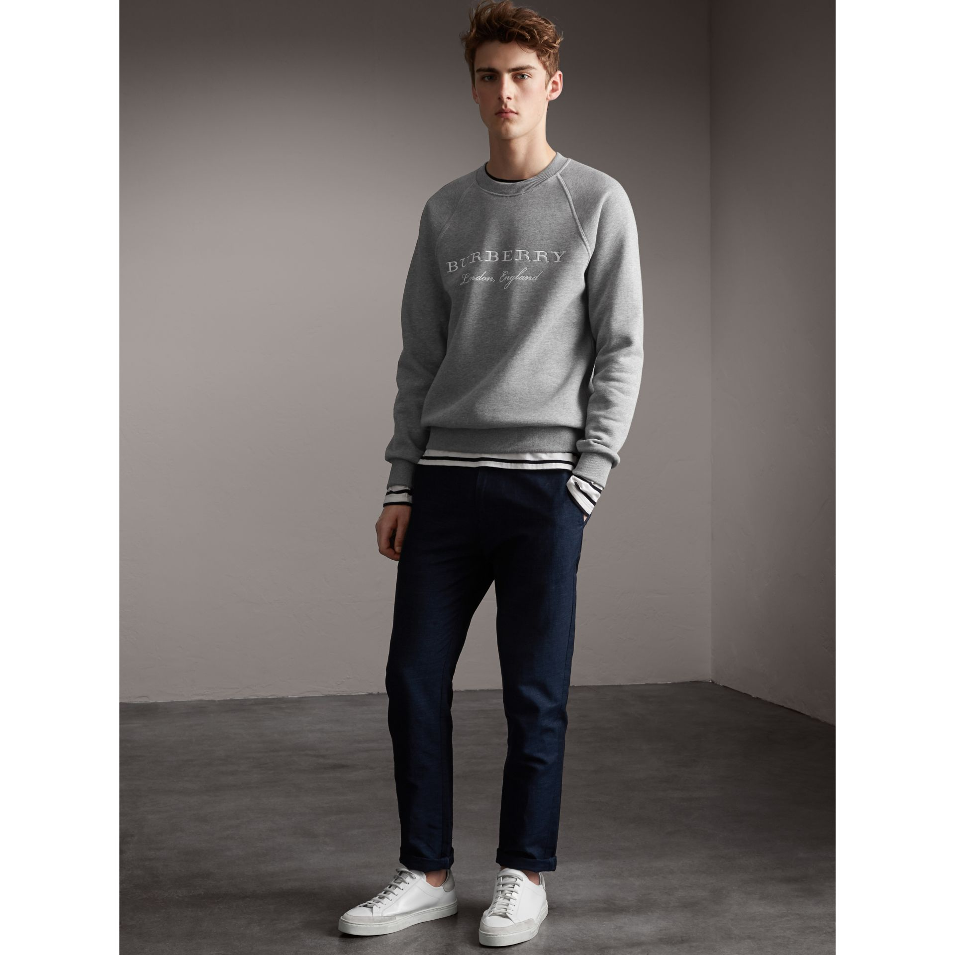 Embroidered Jersey Sweatshirt in Pale Grey Melange - Men | Burberry Australia - gallery image 5
