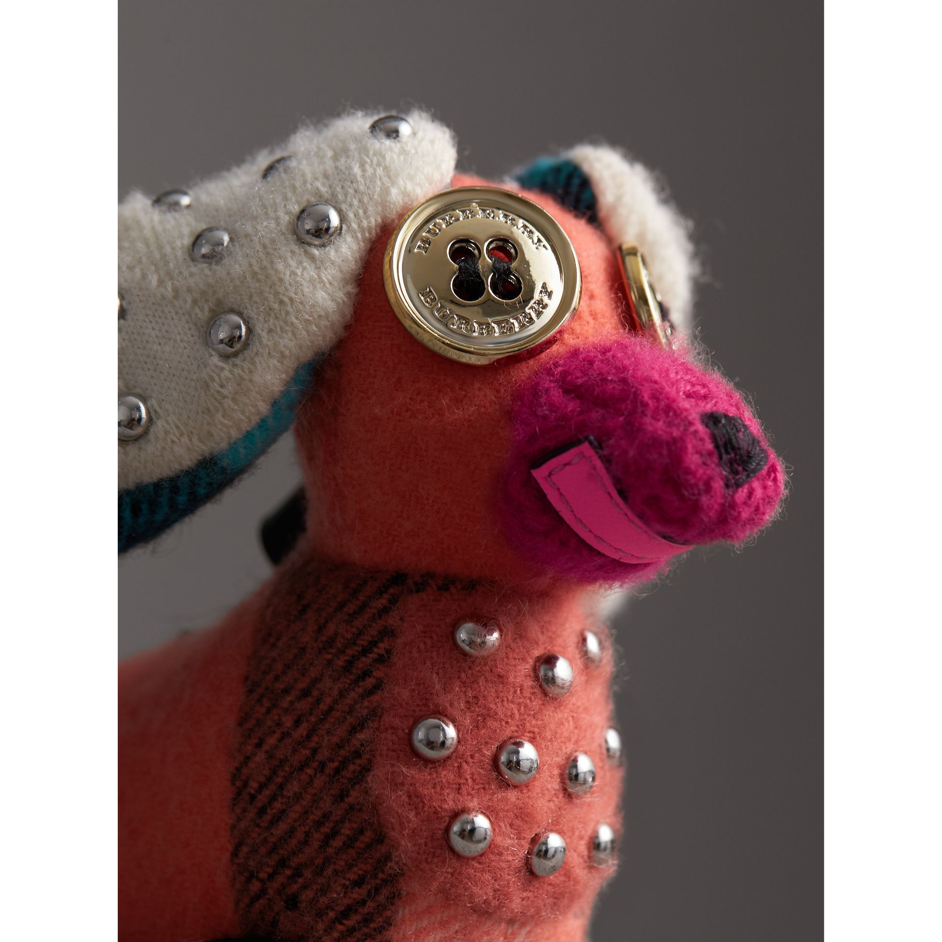 Gareth The Spaniel Knitted Charm in Coral Multicolour | Burberry - gallery image 1