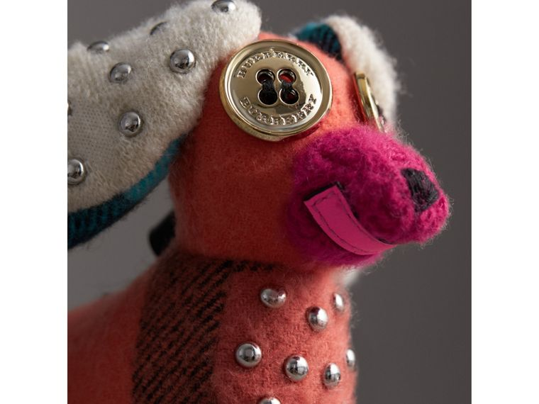 Gareth The Spaniel Knitted Charm in Coral Multicolour | Burberry - cell image 1