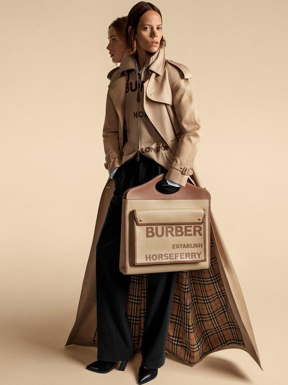 엑스트라 라지 호스페리 아플리케 레더 포켓 백 (허니) - 여성 | Burberry - cell image 1