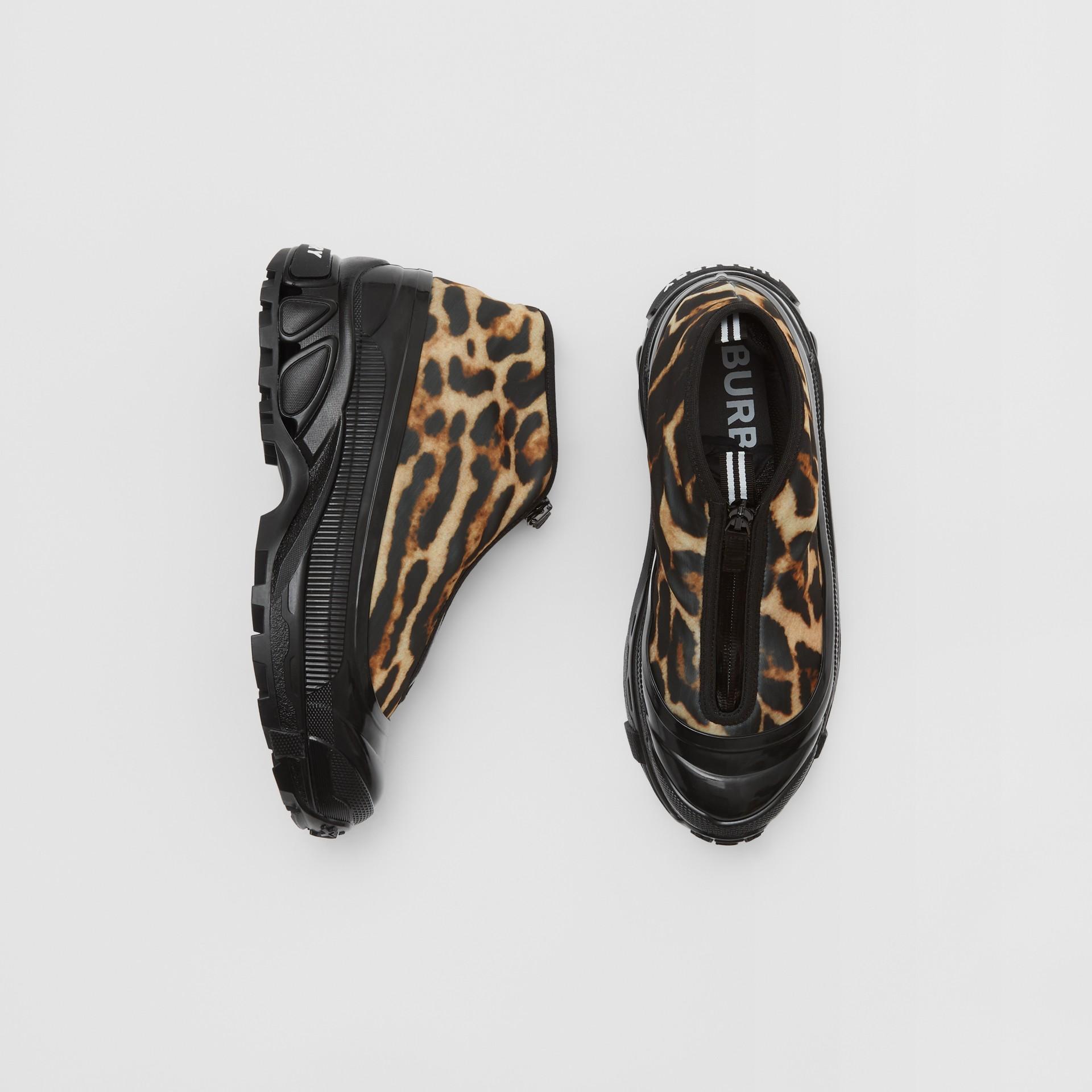 Leopard Print Nylon Arthur Sneakers in Camel - Women | Burberry - gallery image 0