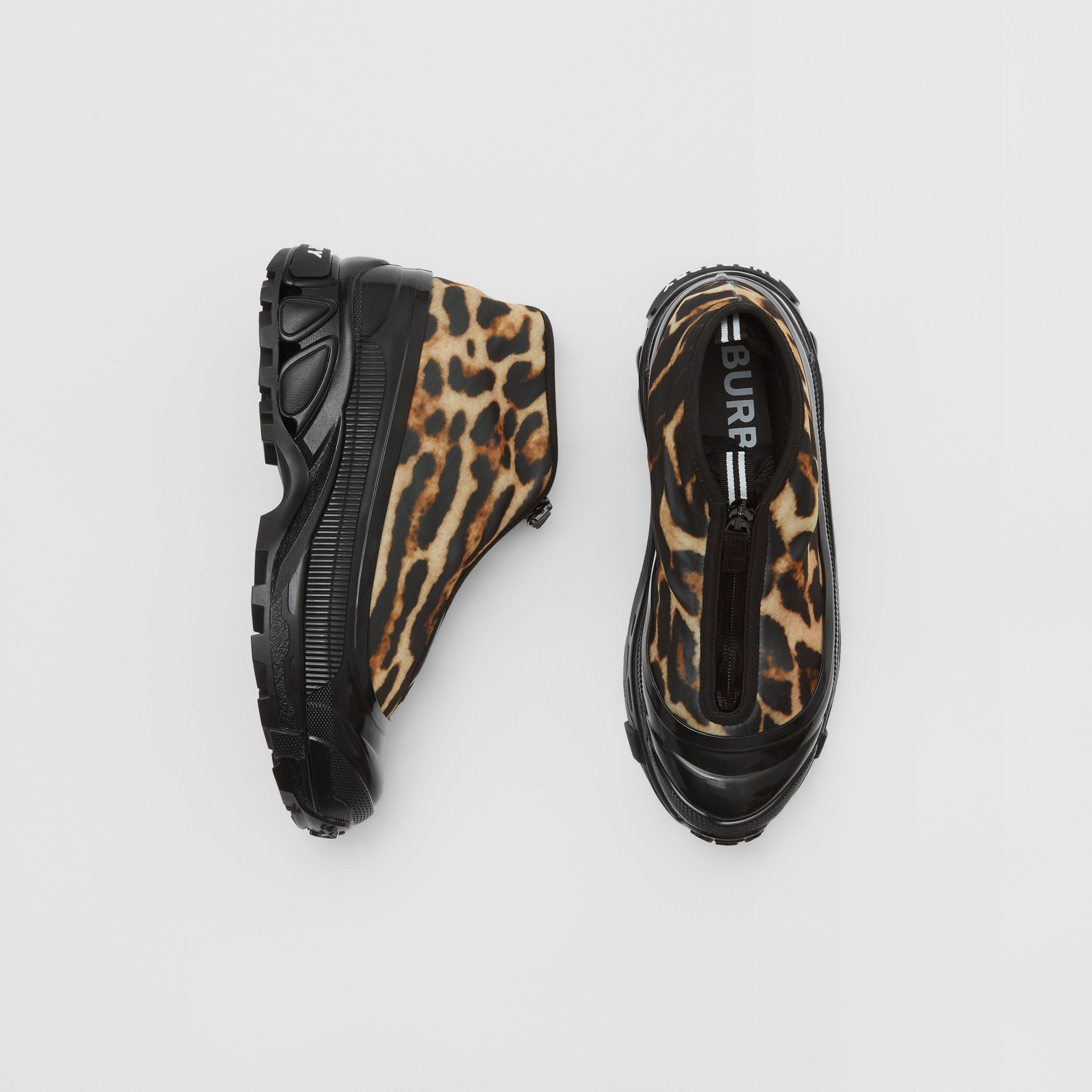 Leopard Print Nylon Arthur Sneakers in Camel - Women | Burberry - 1