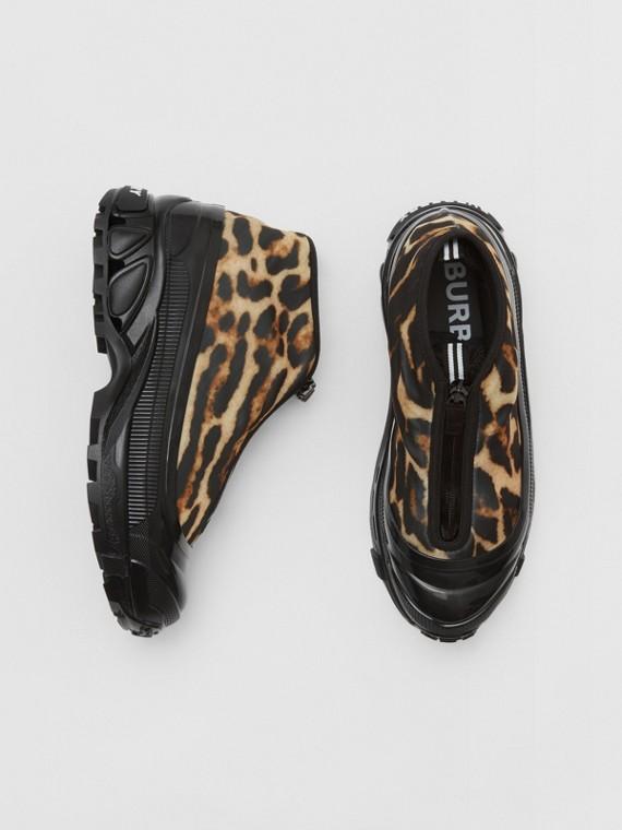 Leopard Print Nylon Arthur Sneakers in Camel