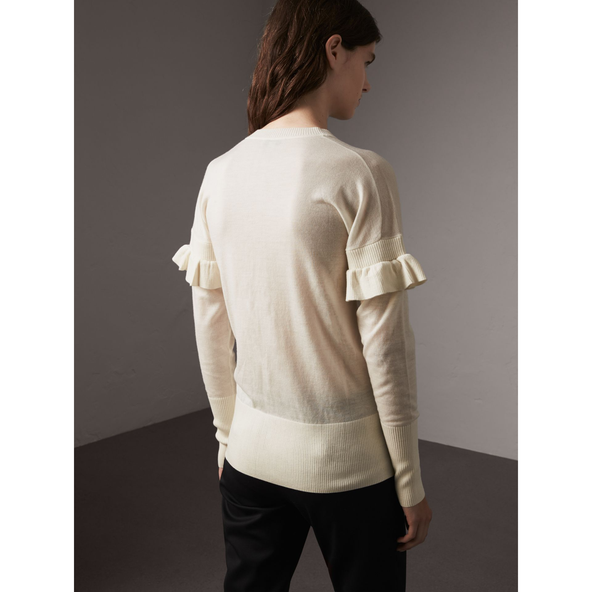 Ruffle-sleeve Braid Detail Wool Cashmere Cardigan in Natural White - Women | Burberry - gallery image 2