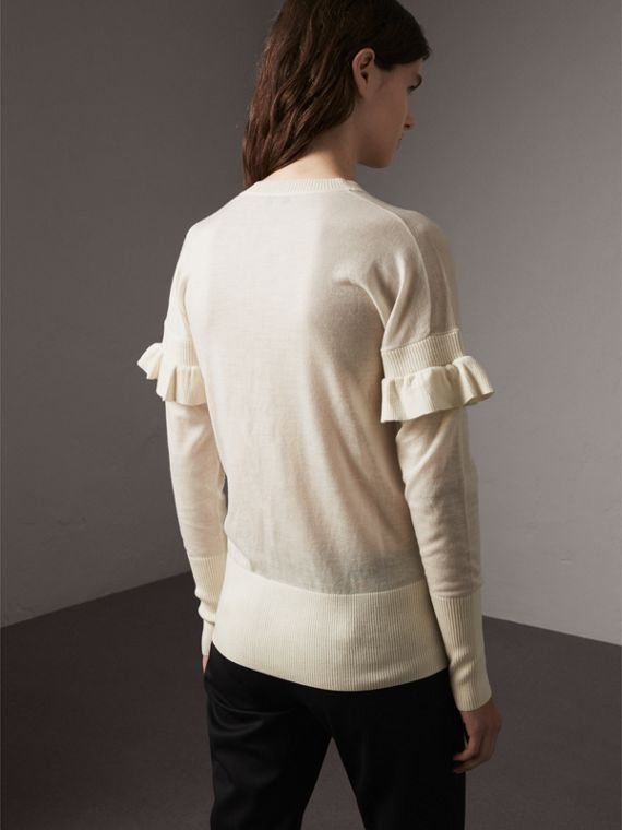 Ruffle-sleeve Braid Detail Wool Cashmere Cardigan in Natural White - Women | Burberry - cell image 2