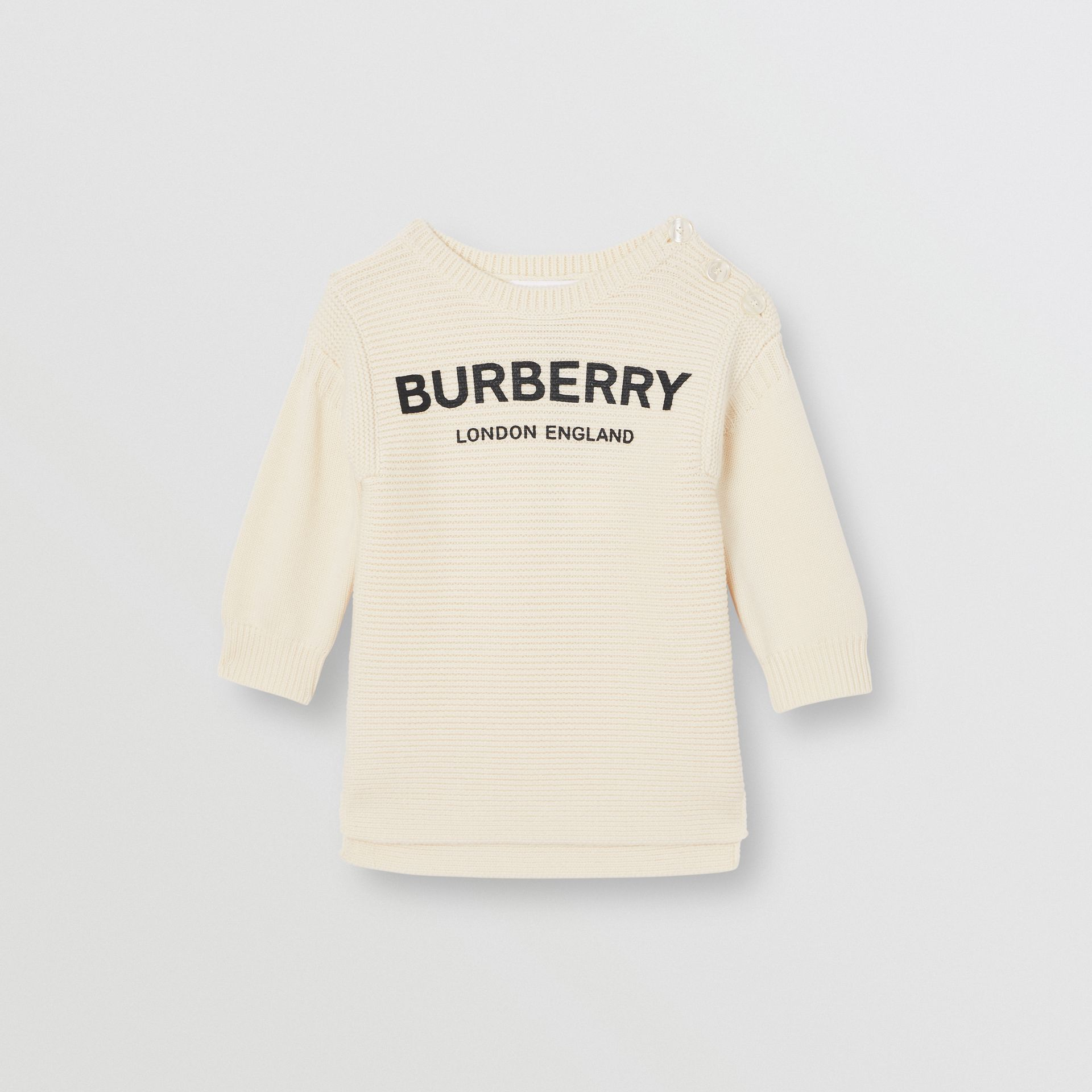 Logo Print Rib Knit Merino Wool Sweater Dress in Ivory - Children | Burberry Canada - gallery image 0