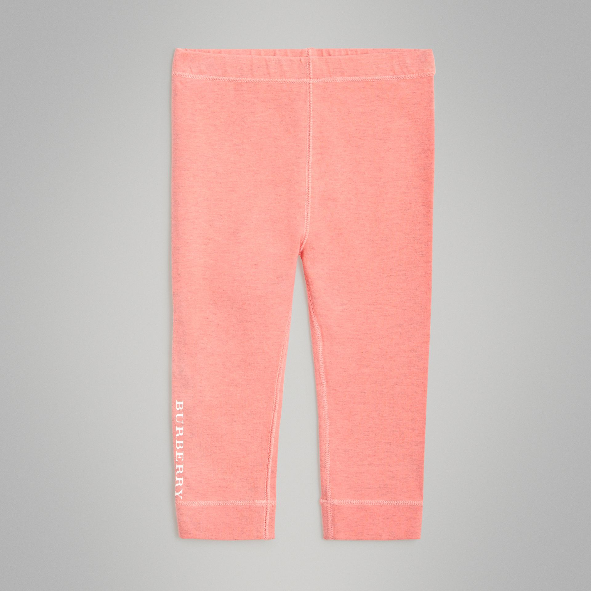 Logo Print Stretch Cotton Leggings in Pale Pink - Children | Burberry Australia - gallery image 0
