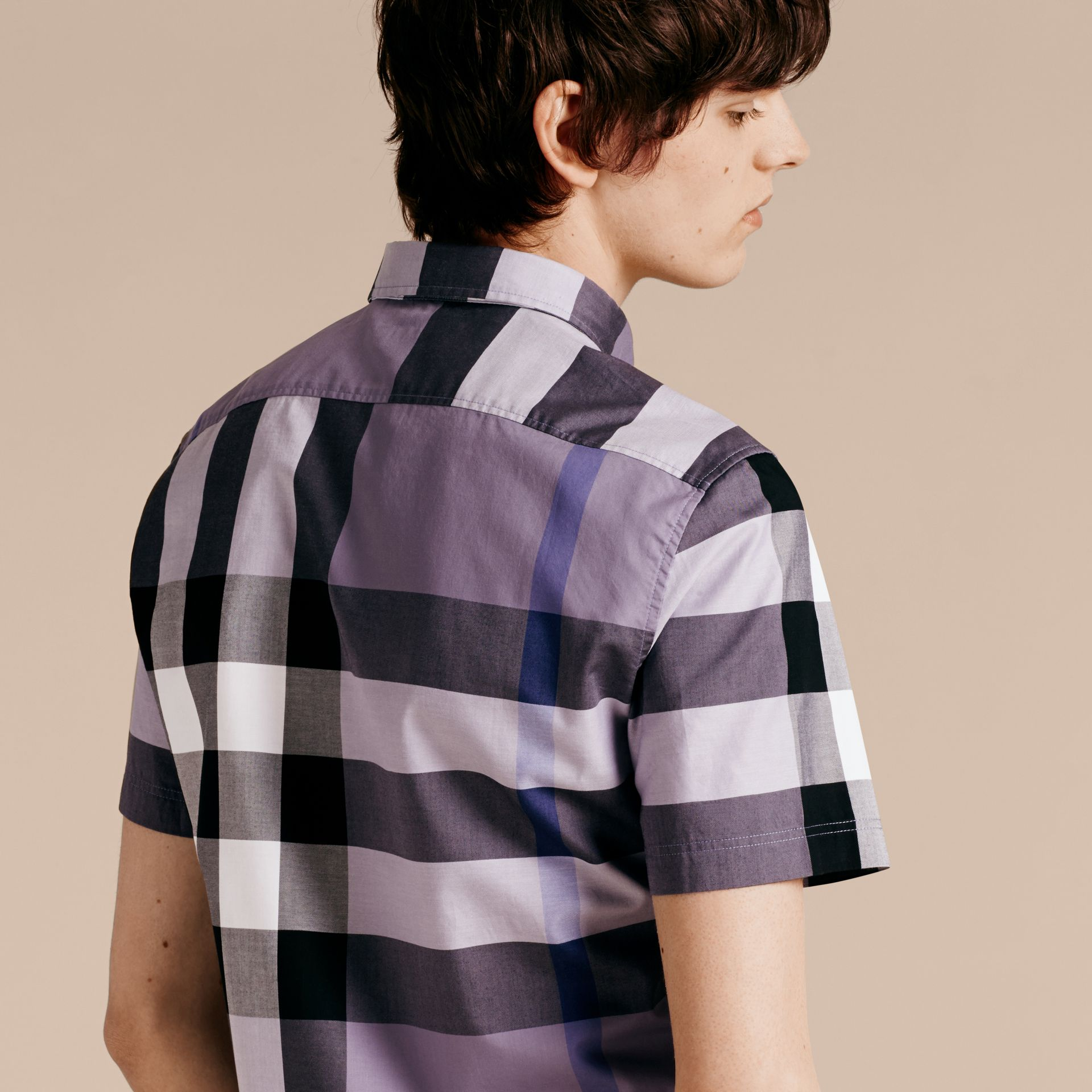 Lilac Short-sleeved Check Cotton Shirt Lilac - gallery image 3