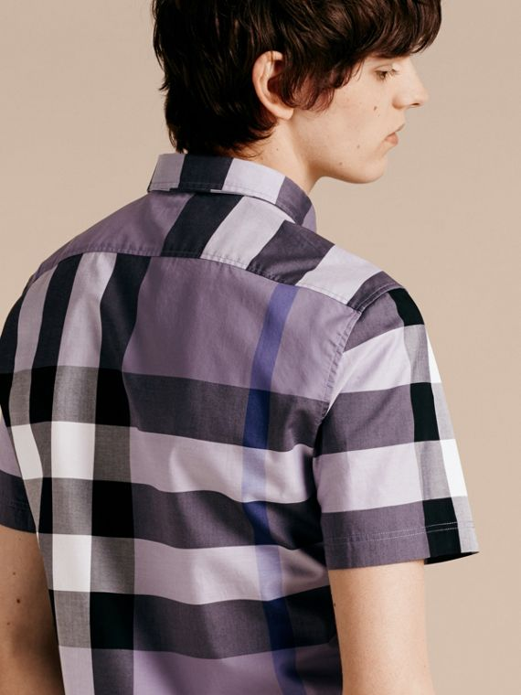 Lilac Short-sleeved Check Cotton Shirt Lilac - cell image 2