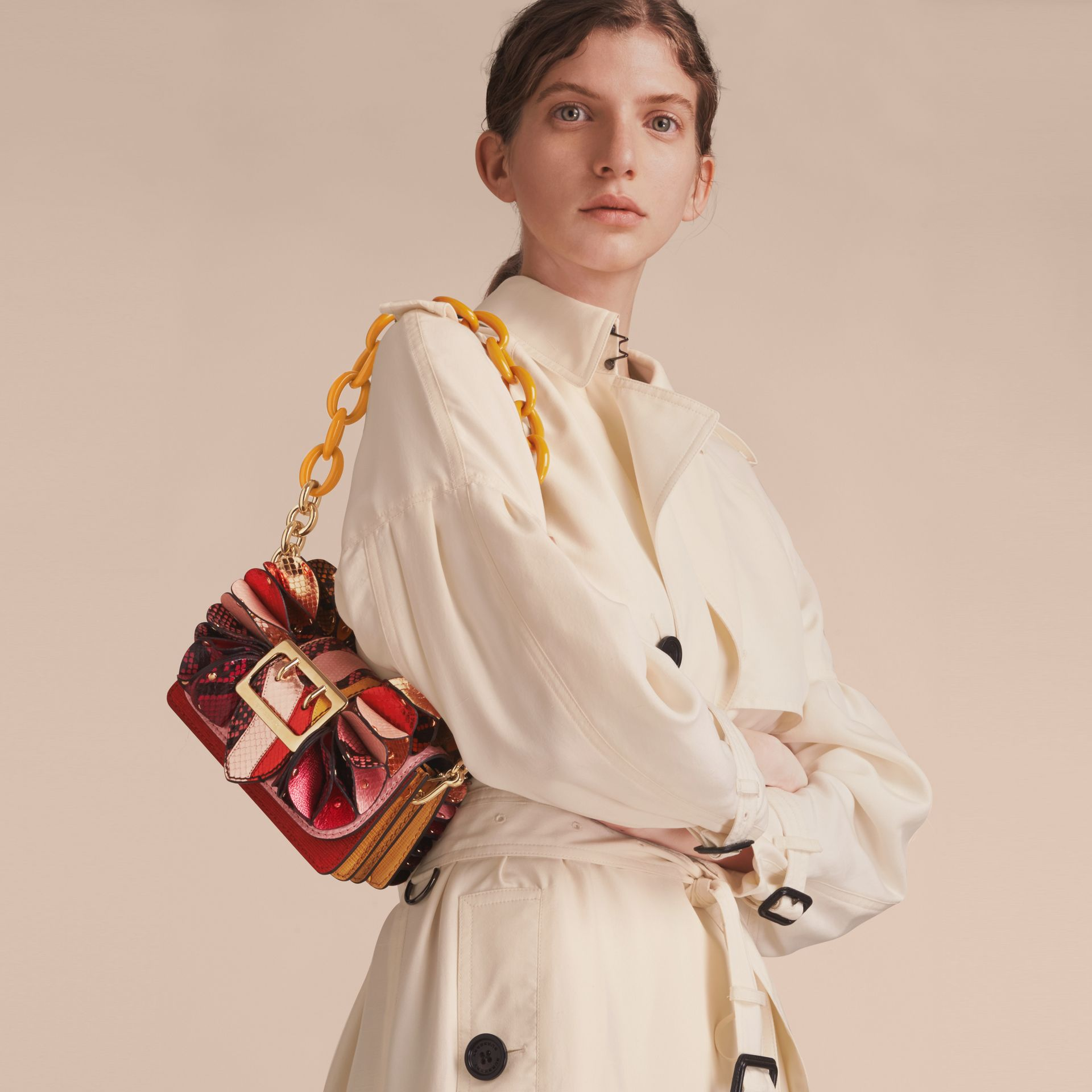 The Ruffle Buckle Bag in Snakeskin and Calf Leather - gallery image 3