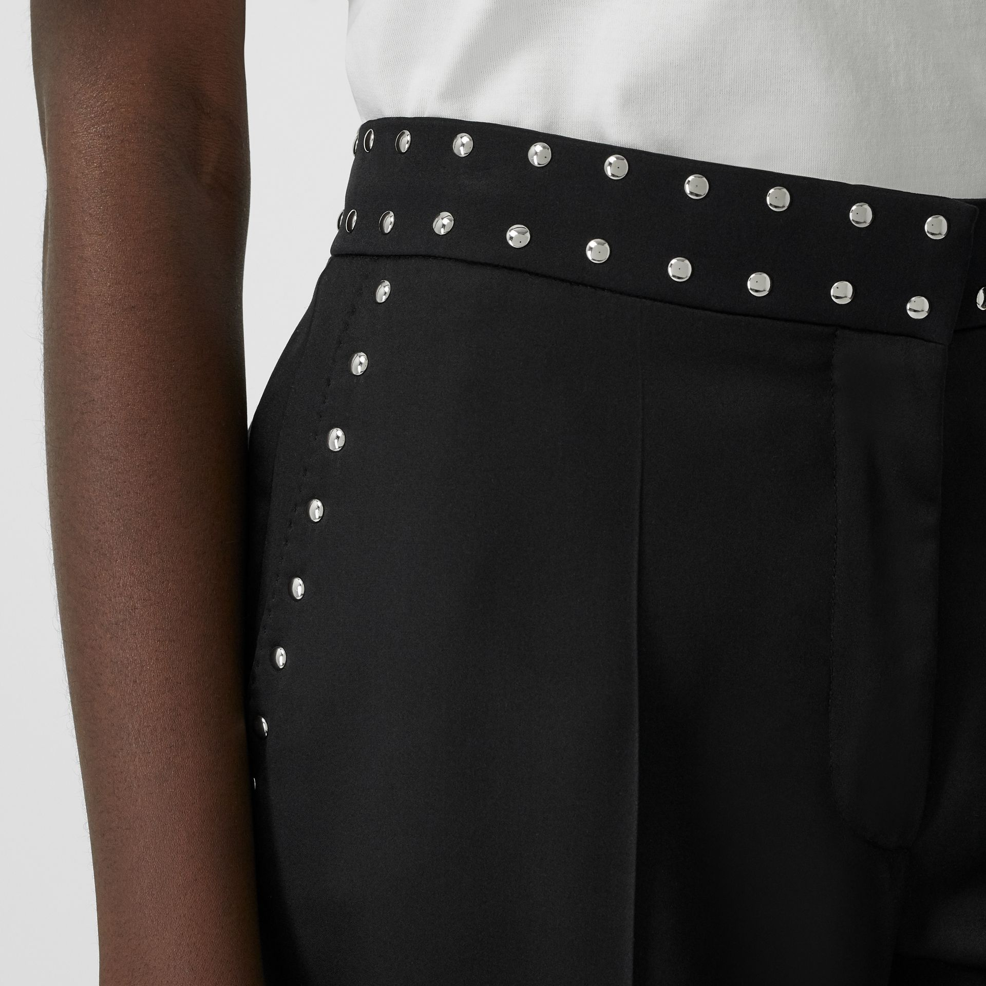 Studded Silk Satin Tailored Trousers in Black - Women | Burberry United Kingdom - gallery image 1