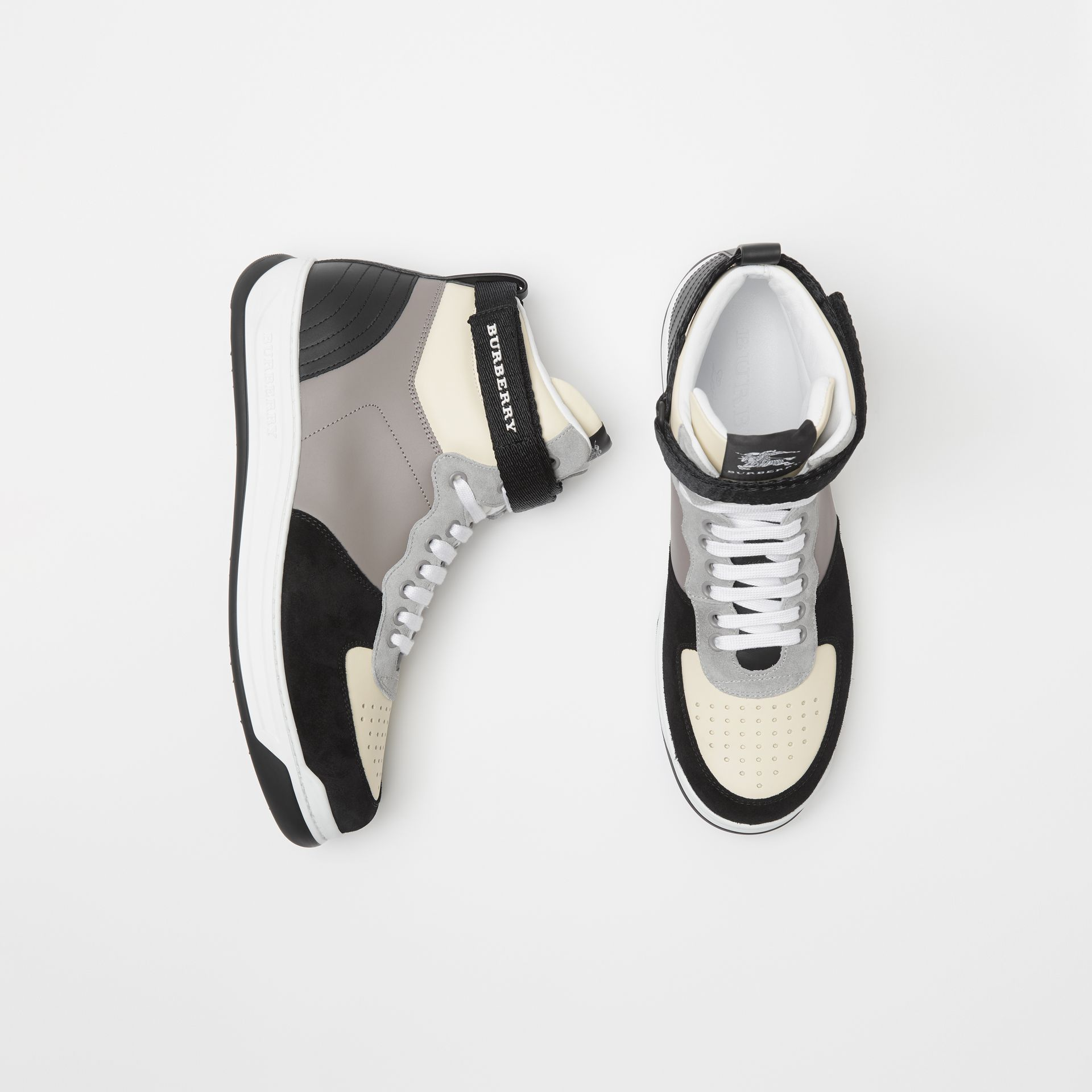 Leather and Suede High-top Sneakers in Mineral Grey - Men | Burberry - gallery image 0