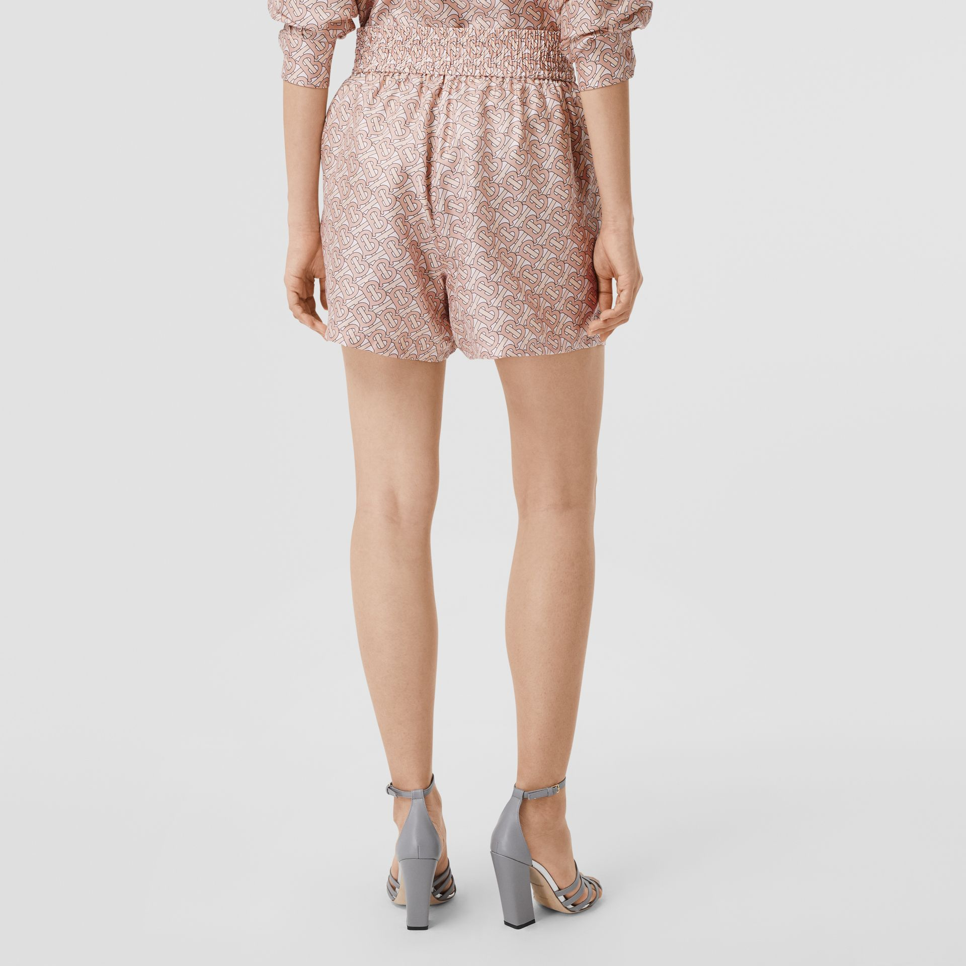 Monogram Print Silk Twill Shorts in Pale Copper Pink - Women | Burberry - gallery image 2