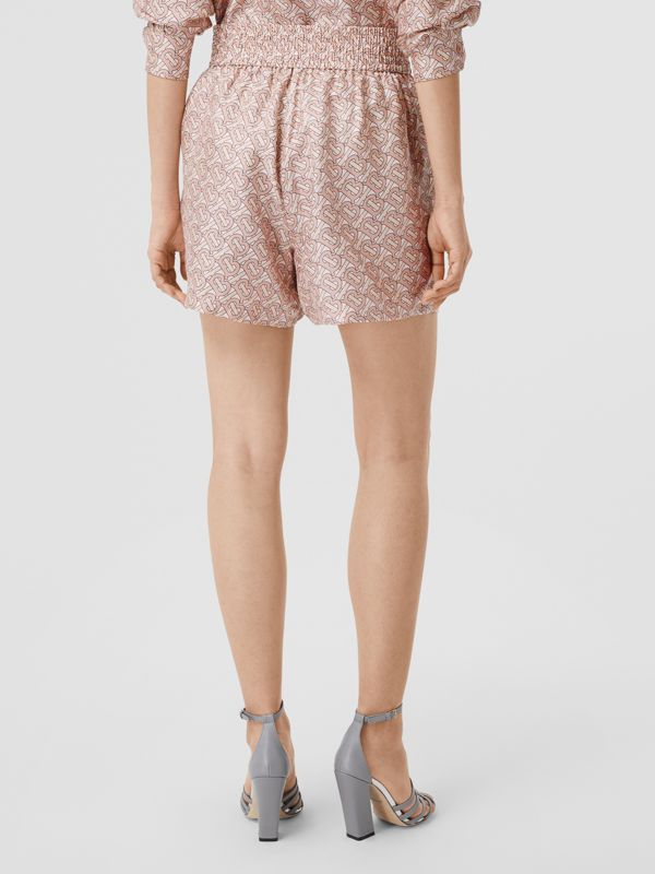 Monogram Print Silk Twill Shorts in Pale Copper Pink - Women | Burberry - cell image 2