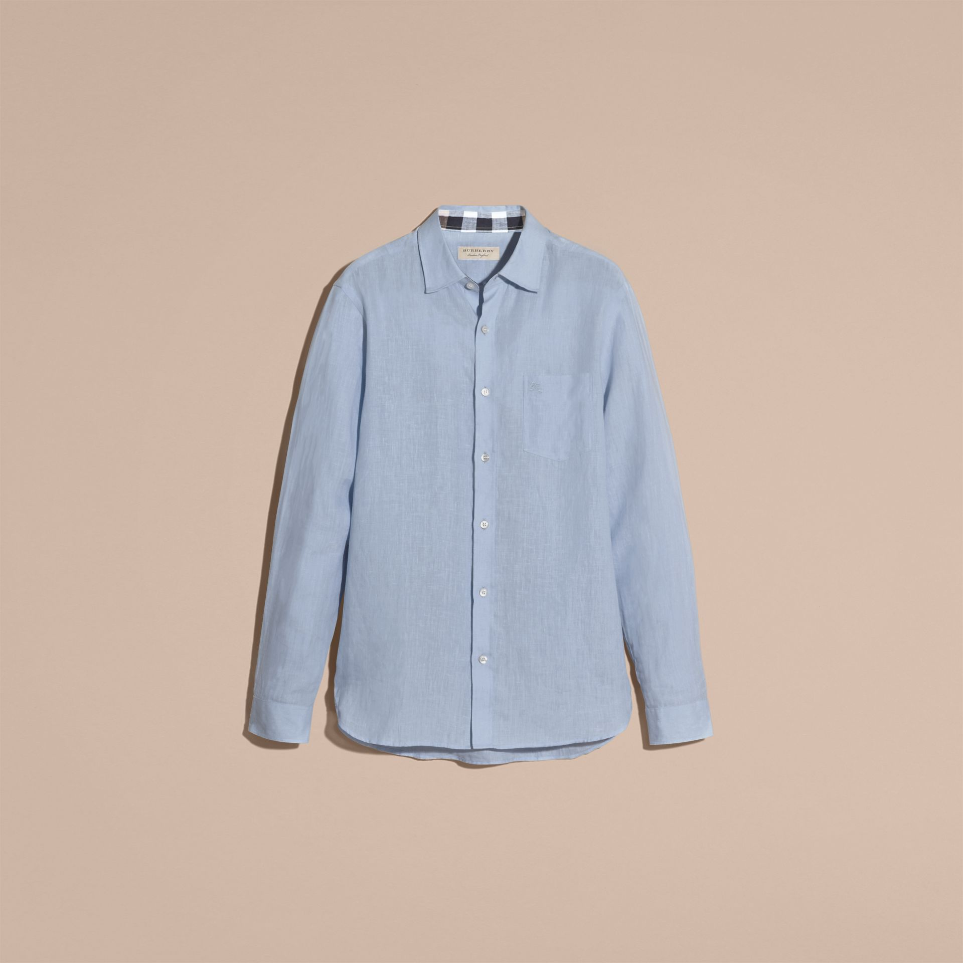 Check Detail Linen Shirt in Pale Blue - gallery image 4