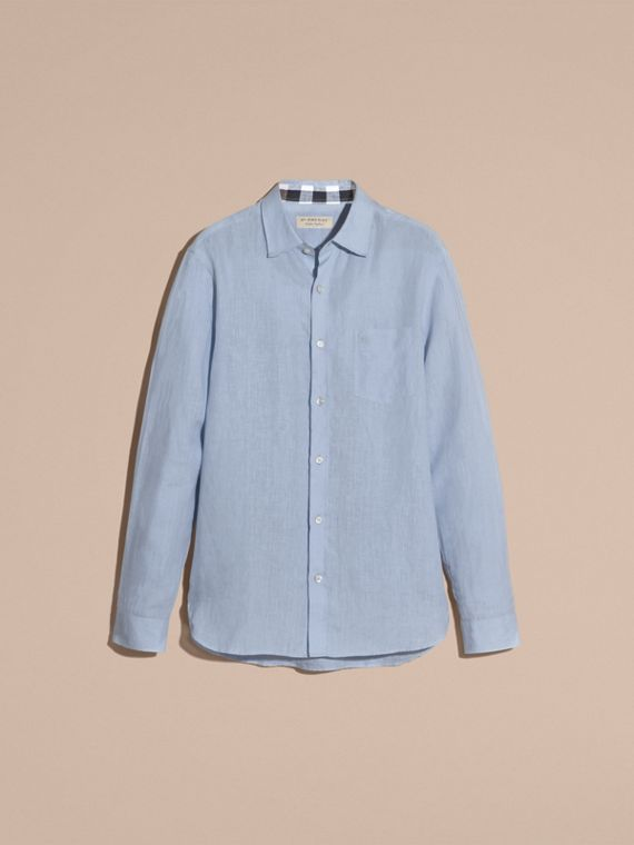 Check Detail Linen Shirt in Pale Blue - cell image 3