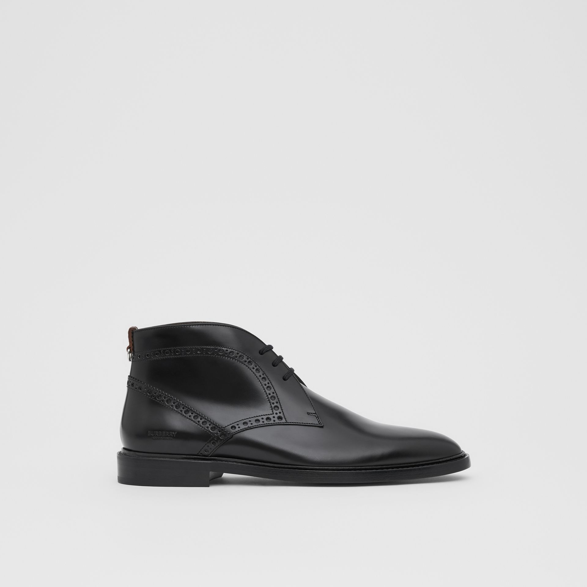 Brogue Detail Leather Boots in Black - Men | Burberry - gallery image 4