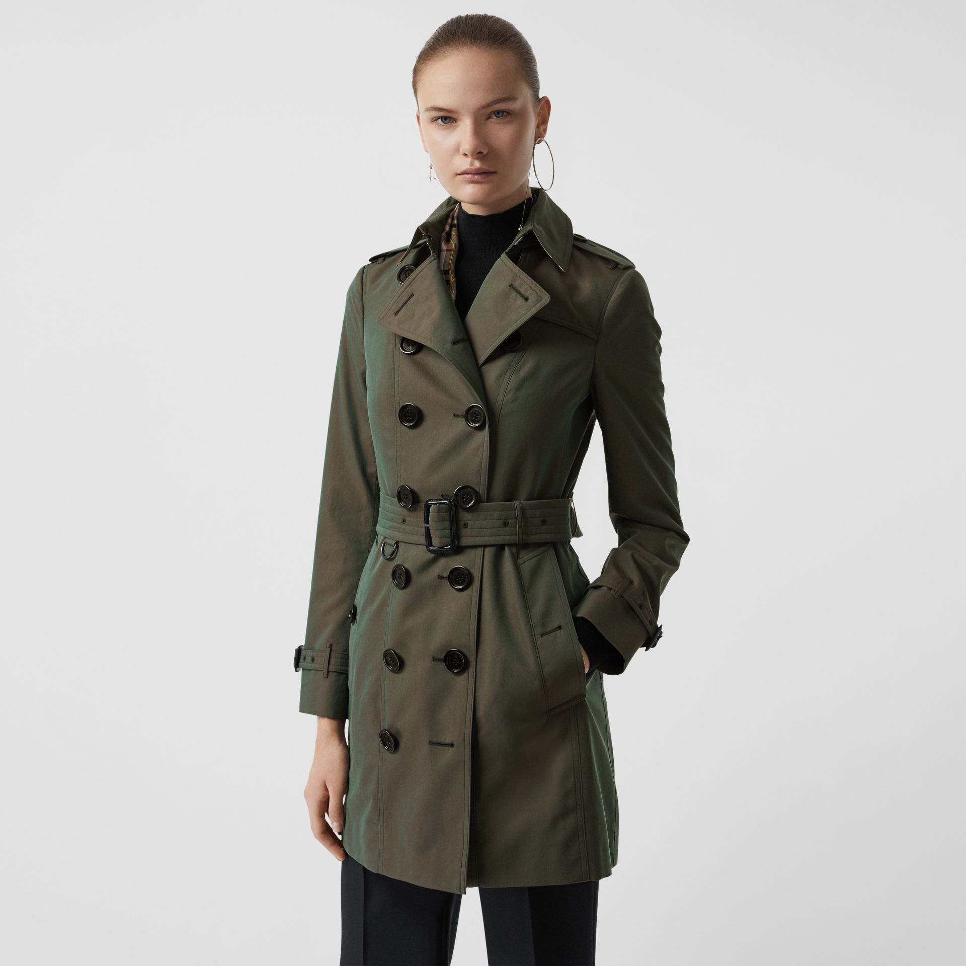 Sandringham Fit Cotton Gabardine Trench Coat in Dark Antique Green - Women | Burberry - gallery image 6