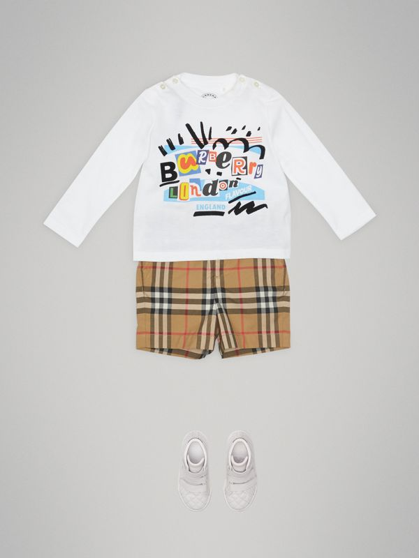 Vintage Check Cotton Tailored Shorts in Antique Yellow - Children | Burberry Australia - cell image 2