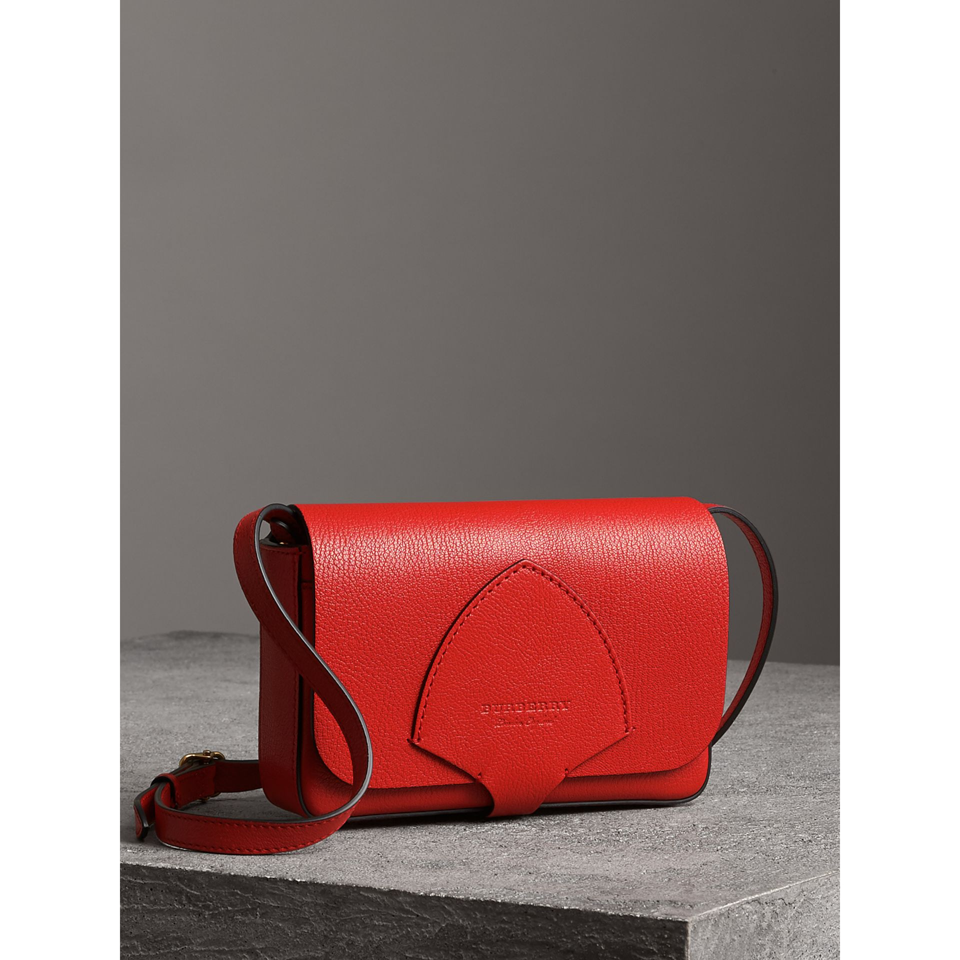Equestrian Shield Leather Wallet with Detachable Strap in Bright Red - Women | Burberry - gallery image 6