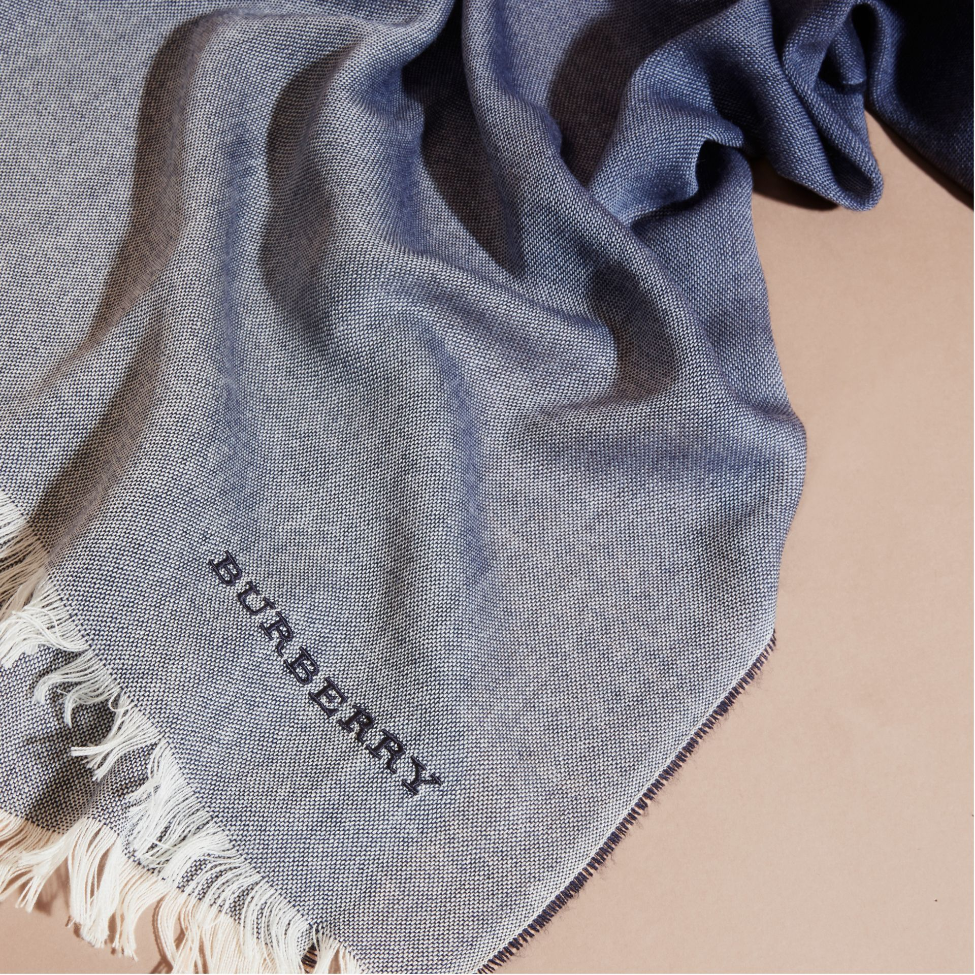 Indigo blue Lightweight Ombré Wool Cashmere Scarf - gallery image 2