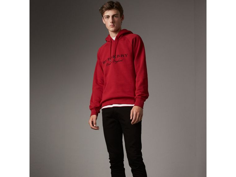 Embroidered Hooded Sweatshirt in Parade Red - Men | Burberry - cell image 4