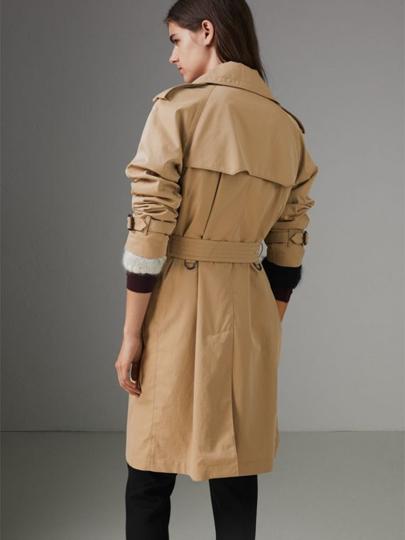 Scarf-print-lined Tropical Gabardine Trench Coat in Honey - Women | Burberry - cell image 2