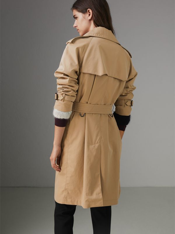 Scarf-print-lined Tropical Gabardine Trench Coat in Honey - Women | Burberry Canada - cell image 2