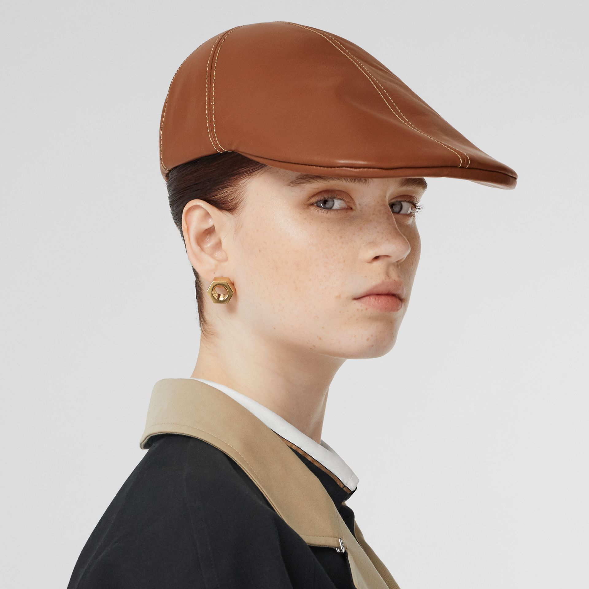 Lambskin Flat Cap in Tan | Burberry United Kingdom - gallery image 2