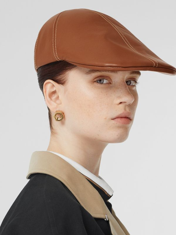 Lambskin Flat Cap in Tan | Burberry - cell image 2