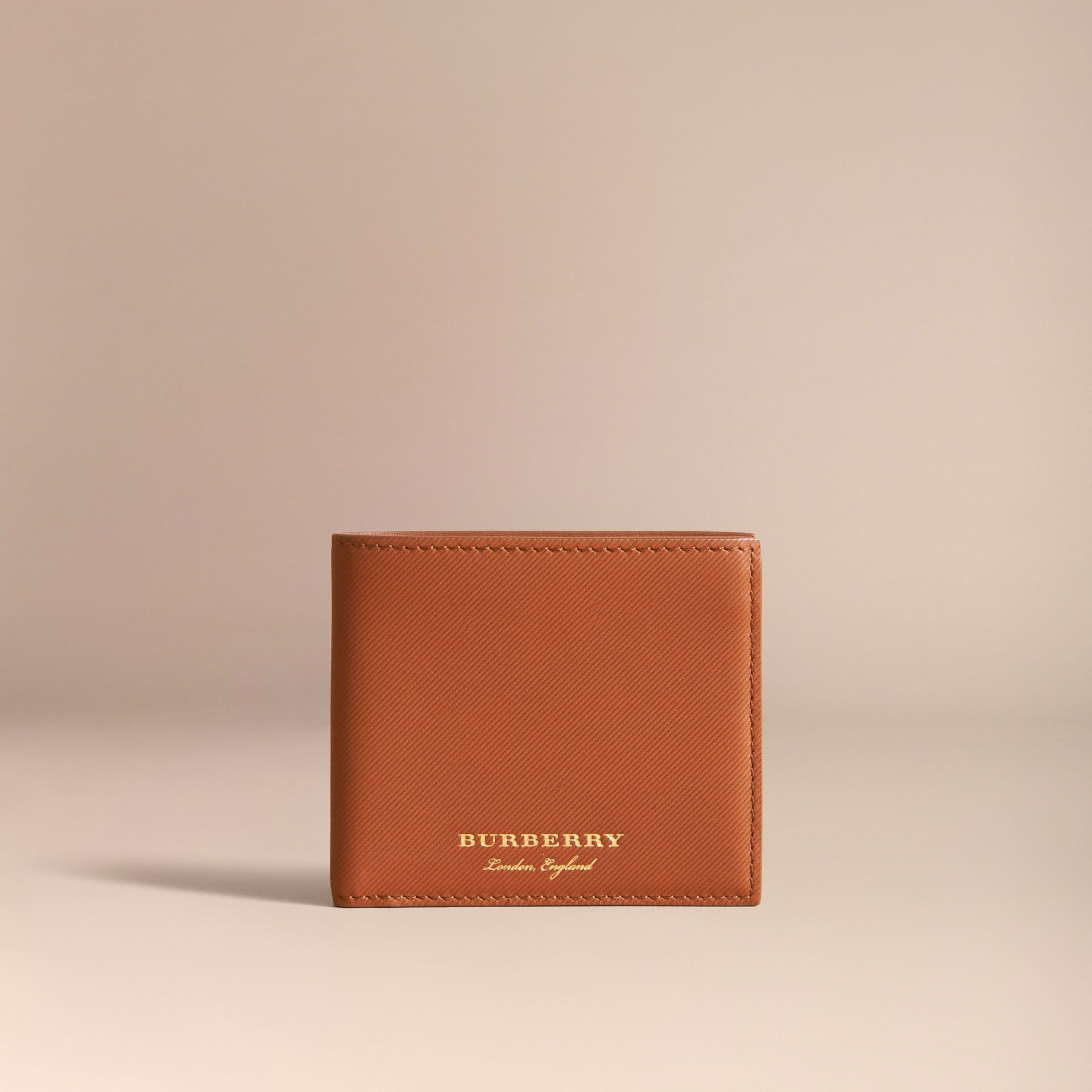 Trench Leather International Bifold Wallet in Tan - Men | Burberry Australia - gallery image 6