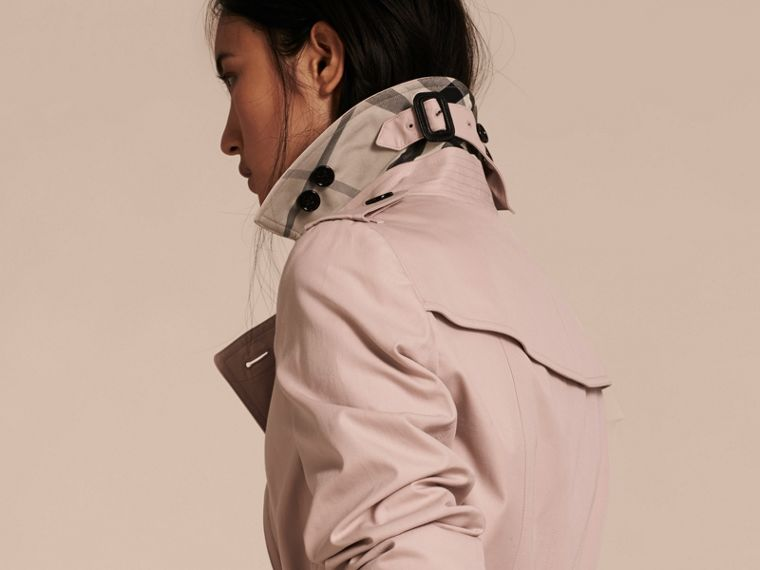 Ice pink Cotton Gabardine Trench Coat - cell image 4