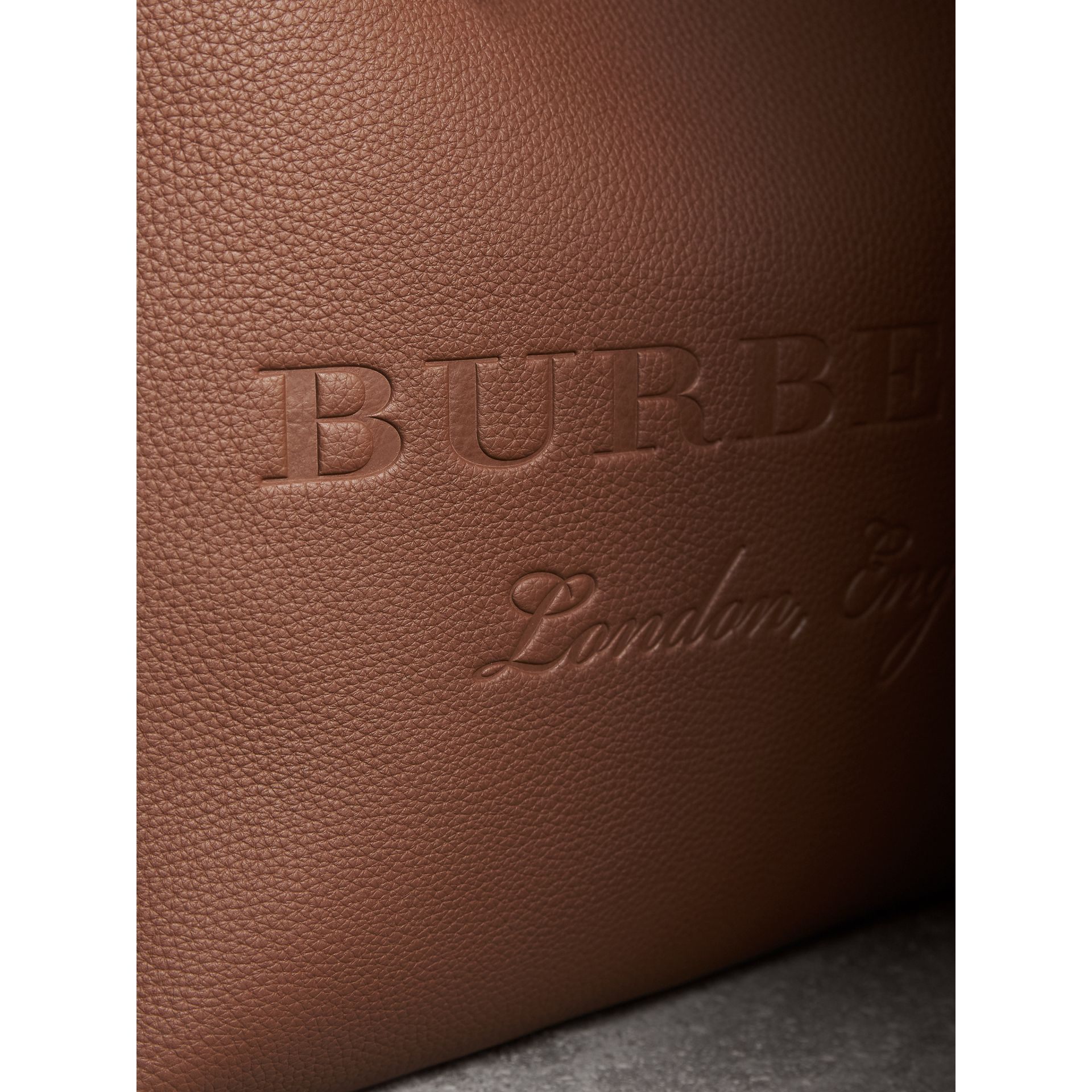 Large Embossed Leather Tote in Chestnut Brown - Women | Burberry - gallery image 2