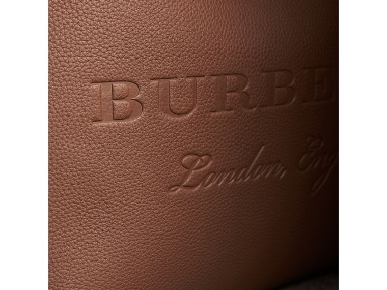 Large Embossed Leather Tote in Chestnut Brown | Burberry - cell image 1