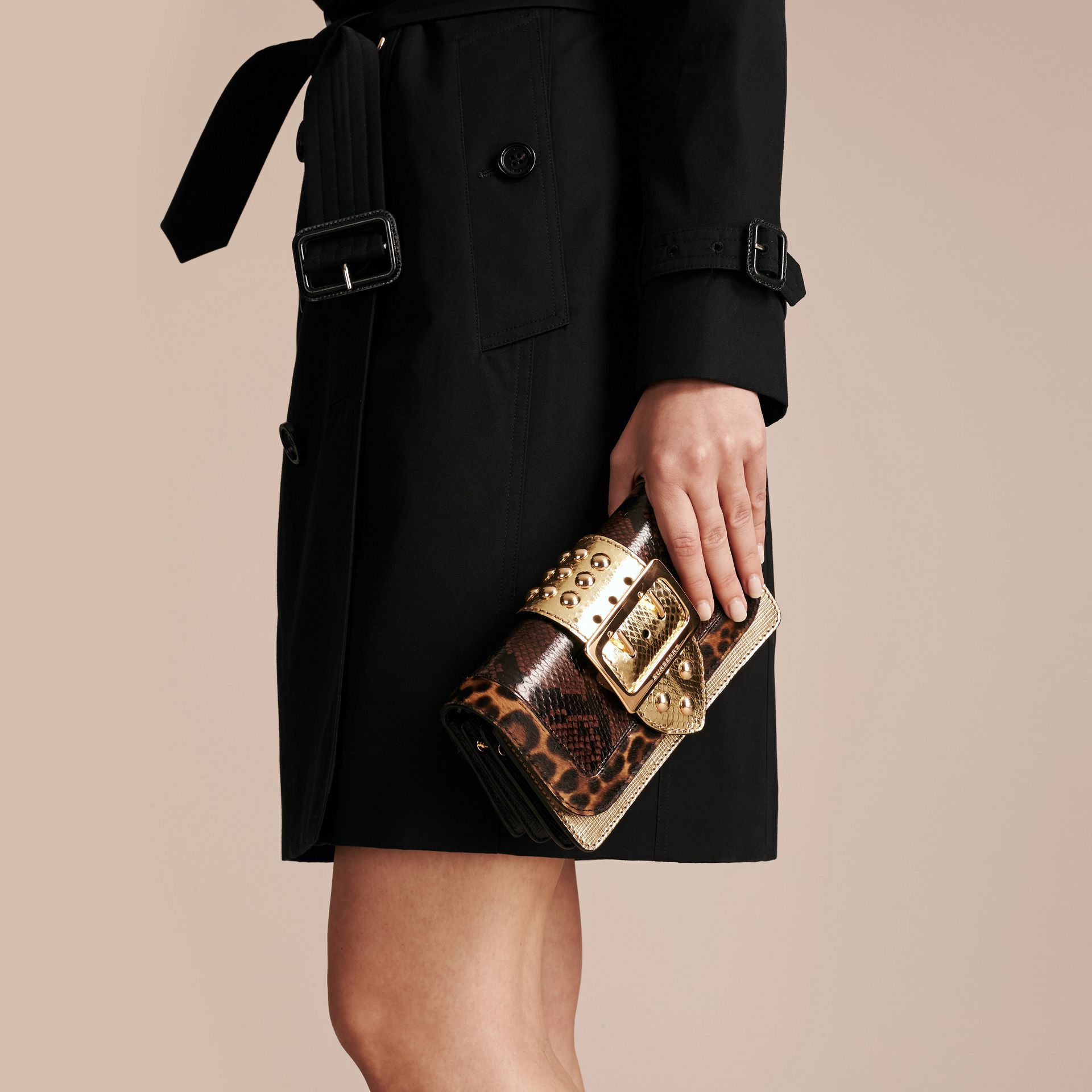 Gold/black The Small Buckle Bag in Sequins and House Check - gallery image 4