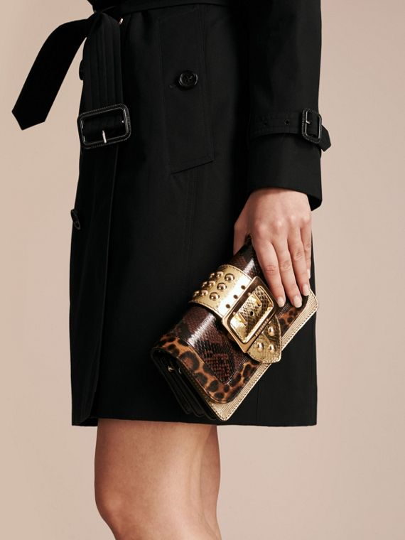 Gold/black The Small Buckle Bag in Sequins and House Check - cell image 3
