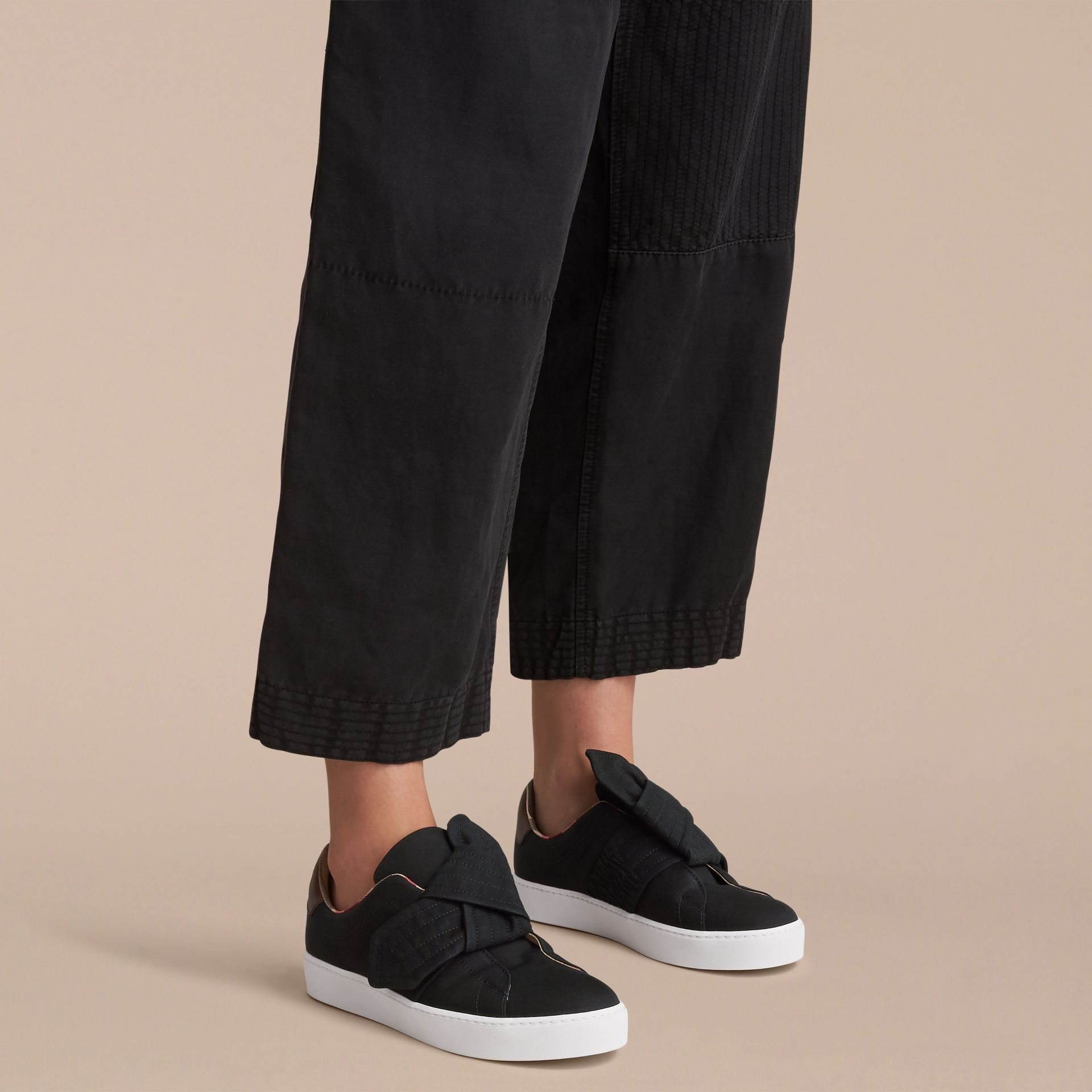 Trench Knot Cotton Gabardine Trainers in Black - Women | Burberry - gallery image 3