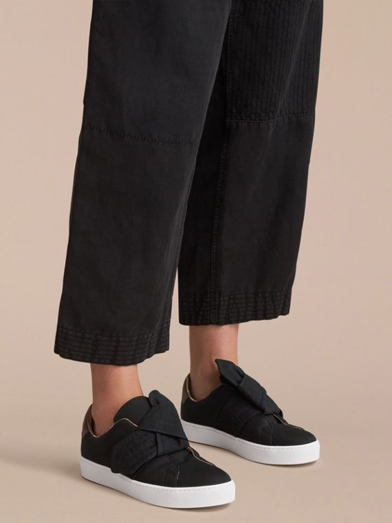 Trench Knot Cotton Gabardine Trainers in Black - Women | Burberry - cell image 2